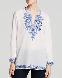 Moon & Meadow - Beaded Voile Tunic Top