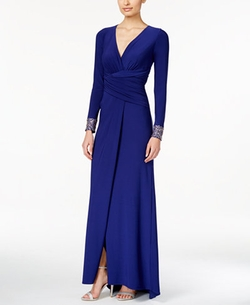 Vince Camuto - Long-Sleeve Embellished Faux-Wrap Gown