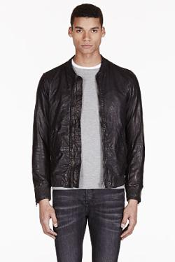 DIESEL  - LEATHER BOMBER AJUGA JACKET