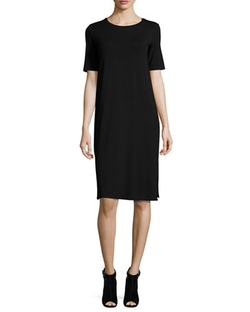 Eileen Fisher - Short-Sleeve Round-Neck Jersey Dress