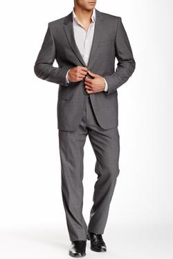 Hugo Boss - Aamon Hago Medium Gray Sharkskin Two Button Notch Lapel Wool Suit