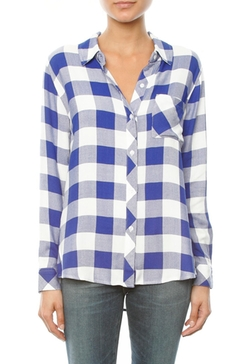 Rails - Hunter Long Sleeve Button Down In Cobalt/white Check