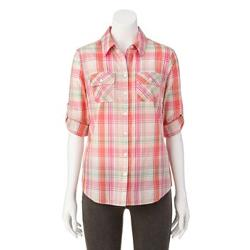Croft & Barrow - Plaid Roll-Tab Shirt - Women