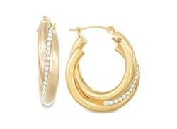 Signature Gold - Crystal Interlocked Hoop Earrings