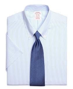 Brooks Brothers - Non-Iron Madison Fit Short-Sleeve Tonal Stripe Dress Shirt