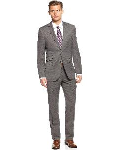 Perry Ellis - Portfolio Suit, Grey Check Slim Fit
