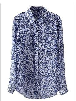 Choies - Blue Floral Print Shirt with Dip Hem