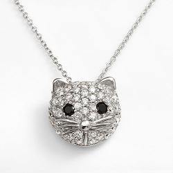 Sophie Miller  - Sterling Silver Black & White Cubic Zirconia Cat Pendant