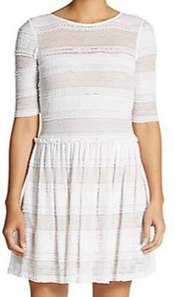 BCBGmaxazria  - Lace-Stripe V-Back Dress