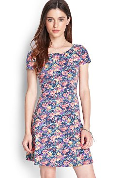 Forever 21 - Floral Cutout Skater Dress