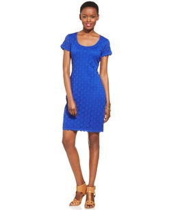 Ronni Nicole - Short-Sleeve Crochet Lace Sheath