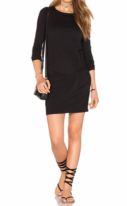 Bobi - Supreme Jersey Long Sleeve Knot Mini Dress