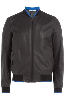 Kenzo   - Leather Bomber Jacket With Logo