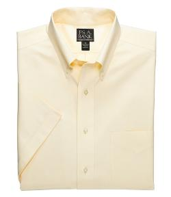 Traveler  - Pinpoint Short Sleeve Solid Buttondown Dress Shirt
