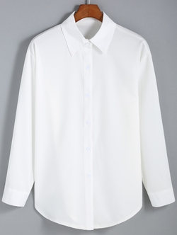Romwe - Lapel Buttons White Blouse
