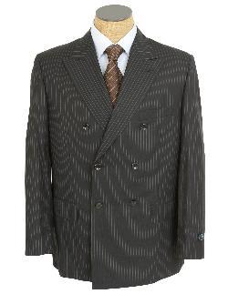 Silvio Bresciani  - Mens Black Pinstripe Super 120 Italian Wool Suit