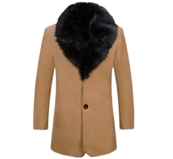 Sense Man - Slim Fur Collar Long Coat