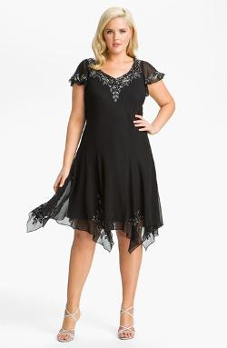 J Kara  - Beaded Flutter Sleeve Chiffon Dress