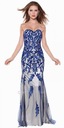 Atria - Sweetheart Embellished Paisley Print Evening Dress