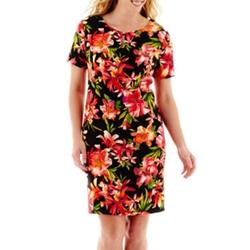 Alyx - Short-Sleeve Tropical Print Sheath Dress