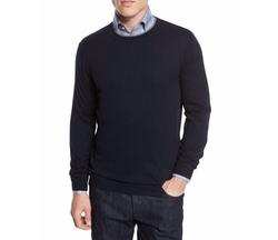 Neiman Marcus  - Contrast-Trim Crewneck Sweater