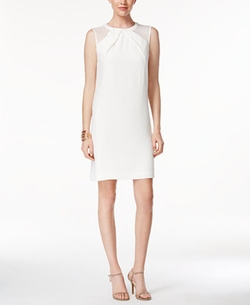 Tahari ASL  - Faux-Leather Trim Illusion Shift Dress