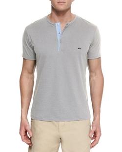 Lacoste - Woven Baseball-Collar Henley Shirt