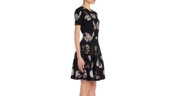 Alexander McQueen - Mixed Printed Wool & Silk Blend Fit & Flare Dress