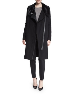 Vince - Asymmetric Fur-Collar Coat