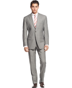 Calvin Klein - Grey Sharkskin Slim-Fit Suit