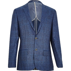 River Island - Blue Check Linen-Blend Slim Blazer