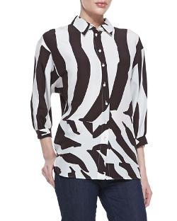 Escada   - 3/4-Sleeve Zebra-Print Blouse