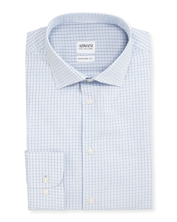 Armani Collezioni - Modern Fit Shadow-Check Dress Shirt