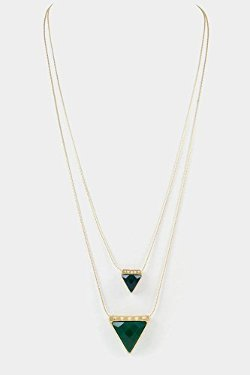 Karmas Canvas  - Faceted Triangle Double Layered Pendant Necklace