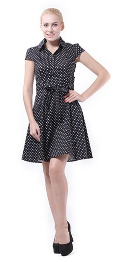 Bi.Tencon  - Polka Dot Flared Swing Shirt Dress