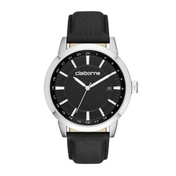 Claiborne - Mens Black Leather Strap Watch