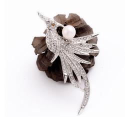 YiWuProdcuts - Trendy Fashion Rhinestone Pearl Silver Bird Brooch