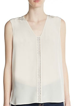 Vince - Laser Cut Leather-Paneled Silk Blouse