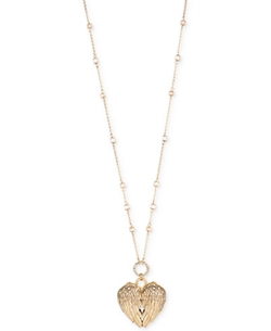 Betsey Johnson  - Gold-Tone Wing Heart Locket Pendant Necklace