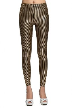 Bigood  - Gilding Vertical Stripes Tight Leggings