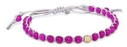 Tai - Fuchsia Beads with Single Crystal Bracelet