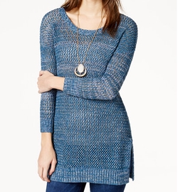 Lucky Brand - Marled Open-Stitch Pullover