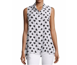 Equipment  - Milla Sleeveless Heart-Print Shirt