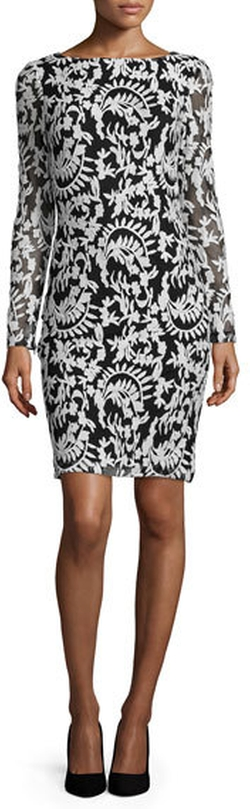 Alice + Olivia - Katy Embroidered Sheath Dress