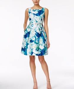 Jessica Howard  - Sleeveless Belted Floral-Print Fit & Flare Dress