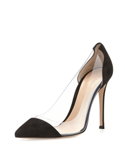 Gianvito Rossi - Suede Cap-Toe Illusion Pumps