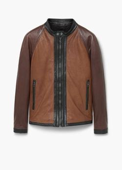 Mango - Panel Leather Jacket