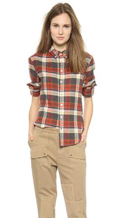 Band of Outsiders  - Tartan Plaid Boyfriend Shirt
