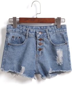Romwe - Single-Breasted Ripped Fringe Denim Shorts