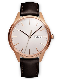 Uniform Wares - Rose Gold Brown Nappa Leather Strap Watch
